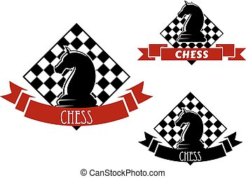 Chess game icons with horse and chessboard - Chess club...