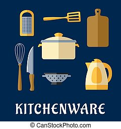 Kitchenware and utensil isolated flat icons - Kitchenware...
