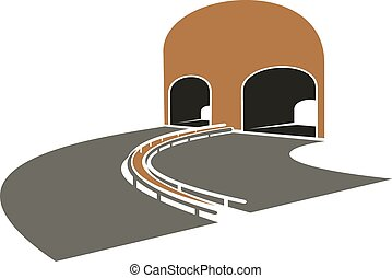 Highway lane turns to a tunnel - Icon of speed highway lane...