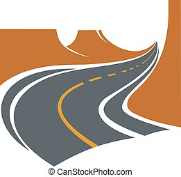 Road passes through canyon between brown cliffs - Road...