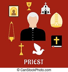 Priest and religious flat icons or symbols - Priest...