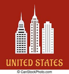 High american skyscrapers flat icons