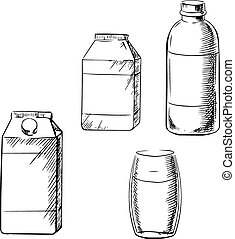 Milk bottle, glass and cartons sketch