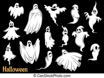 Eerie flying Halloween ghosts and monsters, isolated on...