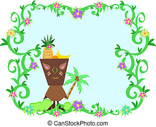 Frame of Tropical Plants, Tiki and Fruit Hat - Here is a...