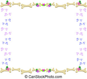 Frame of Bones, Paw Prints, Flowers and Hearts - Here is a...