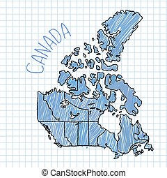 Blue pen hand drawn Canada map vector on paper illustration.
