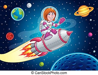 Space Girl Riding On A Rocket Ship - Cartoon illustration of...