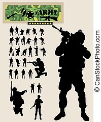Soldier Silhouettes, art vector design