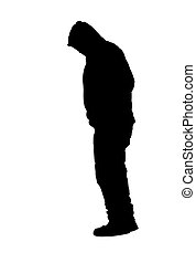 Man Standing Wearing Sweatshirt with Hood Silhouette...