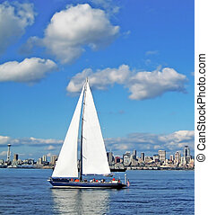 Sailboat and Seattle Space Needle - Sailboat on the Puget...