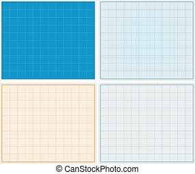 Graph Paper - Horizontal graph papers set, vector eps10...