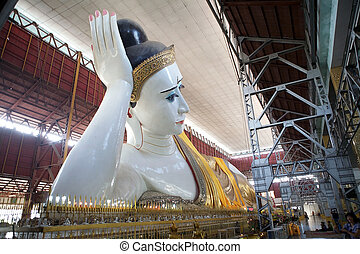 Chaukhtatgyi Bubbha Temple, Yangon, Myanmar - The giant...