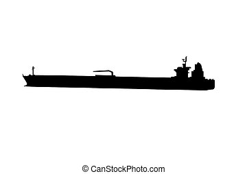 Oil Tanker Ship Silhouette isolated on a white background.