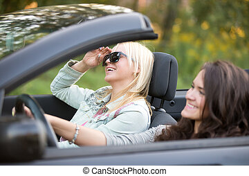 Young women travelling in a car - Two beautiful cheerful...