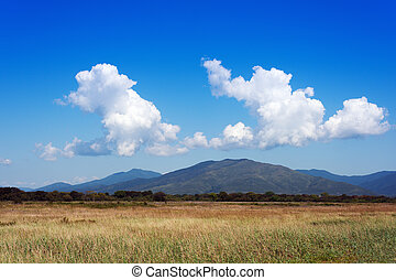 Landscape with mountain views and blue sky - Landscape with...
