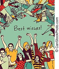 Best wishes happy people color card - Group of active happy...