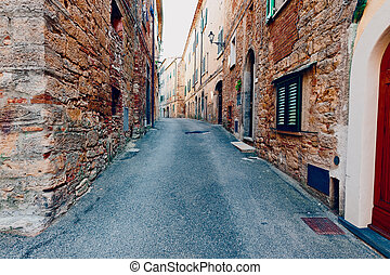 Italian City - Narrow Alley with Old Buildings in Italian...
