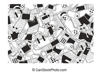 electronic products background - black and white electronic...