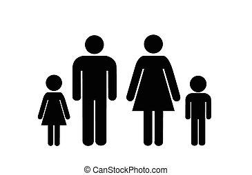sobre, ícone, branca, fundo, família