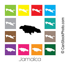 Multicoloured Map of the country of Jamaica - Multicoloured...