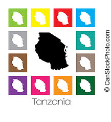 Multicoloured Map of the country of Tanzania - Multicoloured...