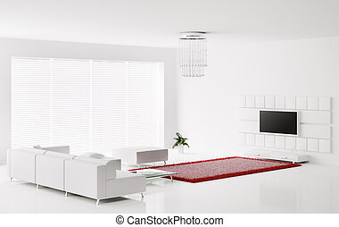 White interior 3d - Interior of white living room with red...