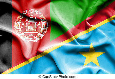 Waving flag of Congo Democratic Republic and Afghanistan