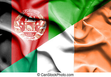 Waving flag of Ireland and Afghanistan
