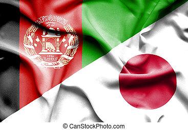 waving, bandeira, de, Japão, e, Afeganistão,