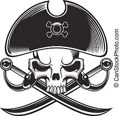 pirate skull - black and white pirate skull