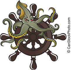 ship steering wheel with octopus.