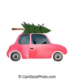 small red vintage car and christmas tree - Cartoon of small...