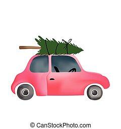 葡萄酒, 樹, 汽車, 小, 聖誕節, 紅色