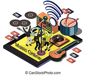 illustration of info graphic music online concept in isometric graphic
