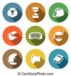 Beaver Icons Set. Vector Illustration. - Muzzle beaver,...