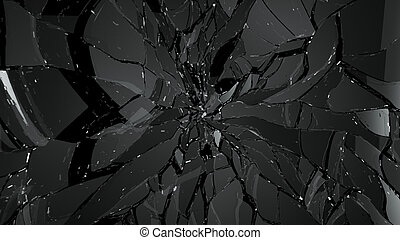 Pieces of splitted or shattered glass on black. Large...