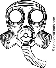 gas mask - black and white gas mask.