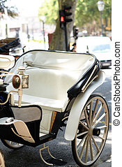 Beautiful close up of white carriage in Palma de Mallorca