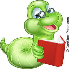 Bookworm Cartoon - Cute smiling green cartoon caterpillar...