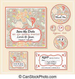 Save the date card wedding invitation set design
