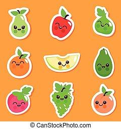 Cute fruit character sticker set