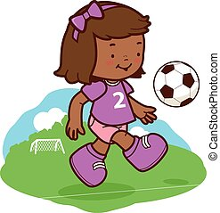African girl soccer player - Vector Illustration of a cute...