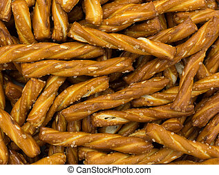 Close view of braided short pretzel sticks - A very close...