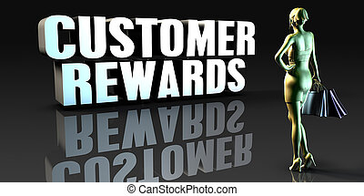 Customer Rewards as a Concept with Lady Holding Shopping...
