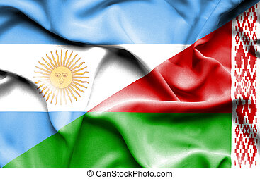 Waving flag of Belarus and Argentina