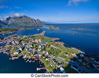 Reine on Lofoten - Picturesque aerial view of fishing town...