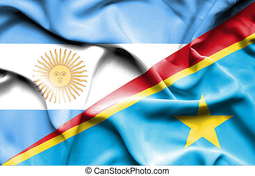 Waving flag of Congo Democratic Republic and Argentina