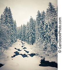 Winter landscape in the forest Retro stile