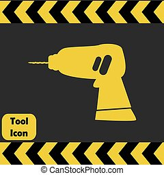 Power drill icon, repairing service tool sign